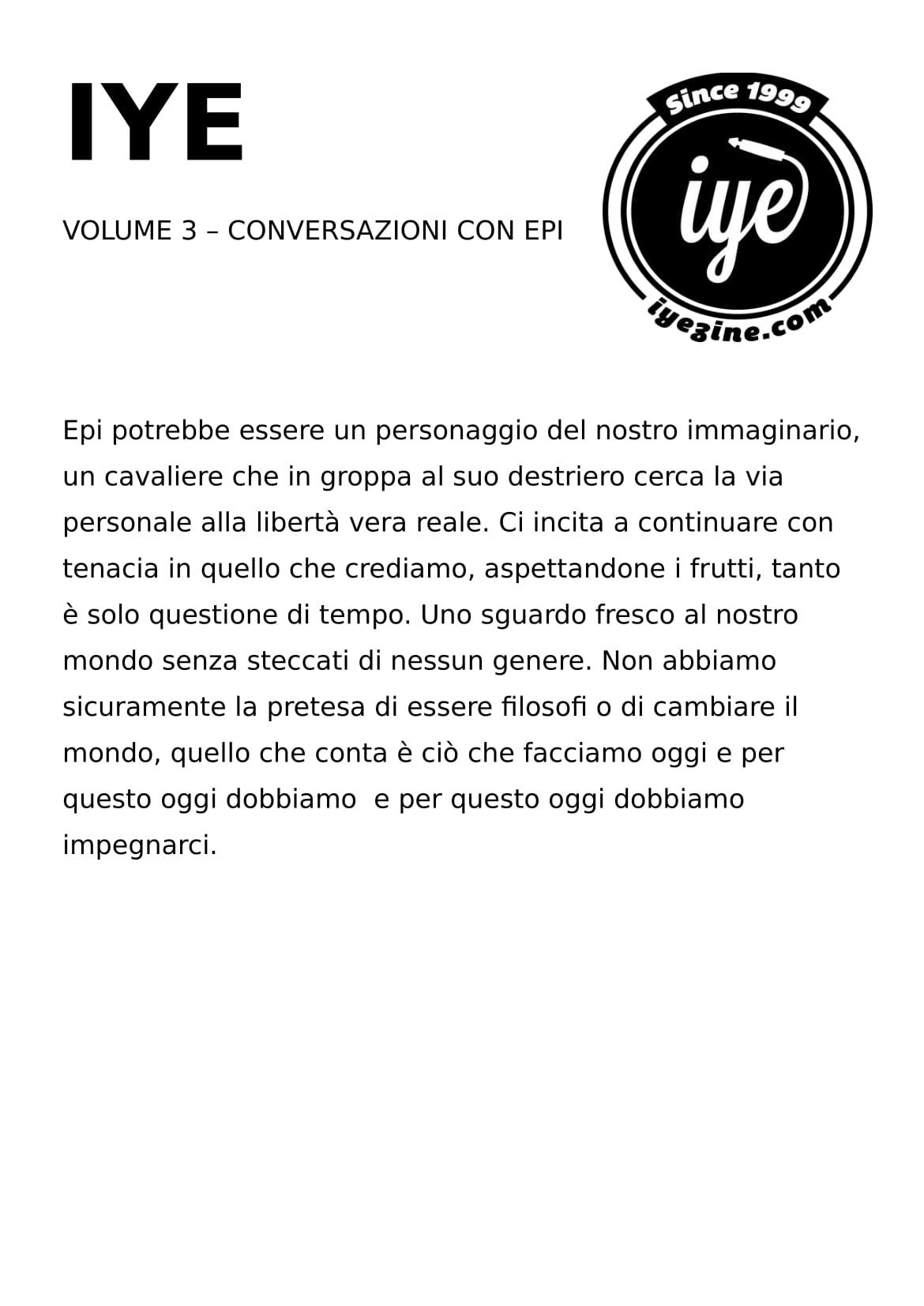 IYE - VOLUME 3 - Epi 1 - fanzine
