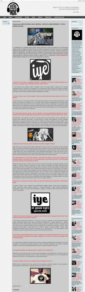 InYourEyesEzine COMPIE VENT'ANNI (E NON LI DIMOSTRA) - INTERVISTA A SIMONE BERENECETTI - TESTO DI MAURIZIO CASTAGNA 3 - fanzine